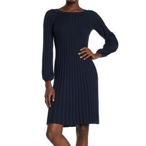 Mac Studio Pleated Knit Sweater Dress Blue Small